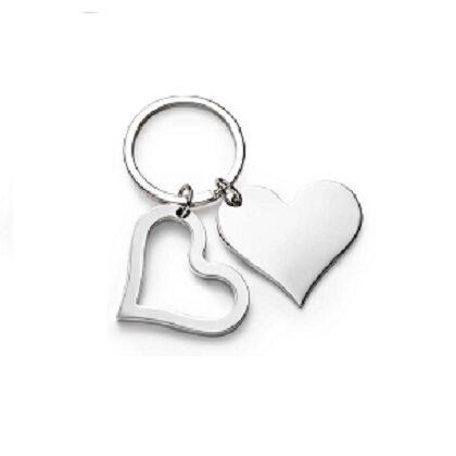 Portachiavi cuore doppio in metallo